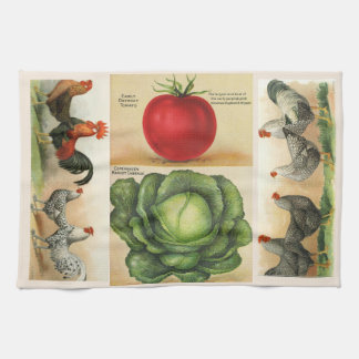 Vintage farm illustrations: cozy country style hand towel