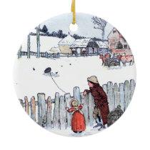 Vintage Farm Kids Ceramic Ornament