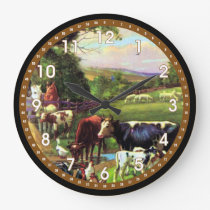 Vintage Farm Large Clock