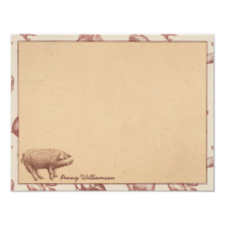 Vintage Farm Pig Personalized Flat Note Cards