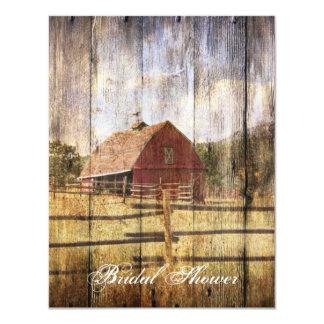 vintage farm redbarn western country bridal shower 4.25x5.5 paper invitation card