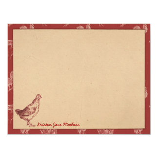 Vintage Farm Rooster Personalized Flat Note Cards