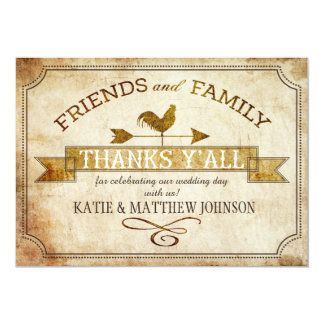 Vintage Farm Rooster Weather Vane Rustic Thank You Card