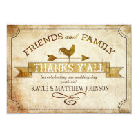 Vintage Farm Rooster Weather Vane Rustic Thank You Invitation