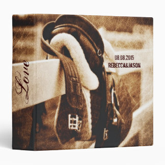 vintage farm saddle western country wedding 3 ring binder