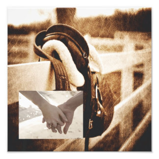 vintage farm saddle western country wedding photo print