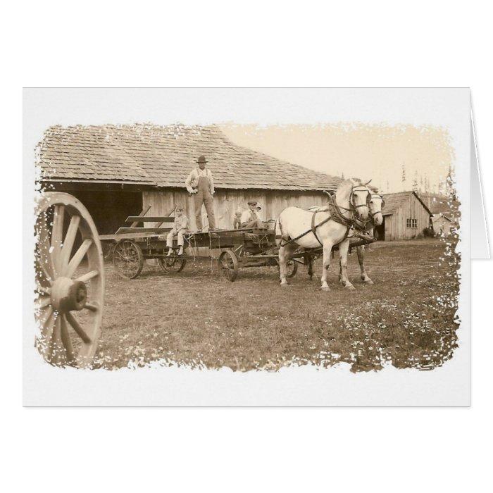 Vintage Farm Scene Card