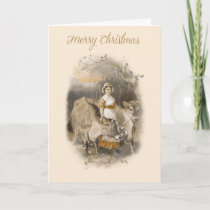 Vintage farm scene Christmas card