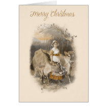 Vintage farm scene Christmas card