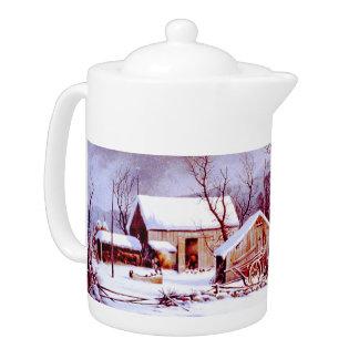 Vintage Farm Scene . Christmas Gift Teapot