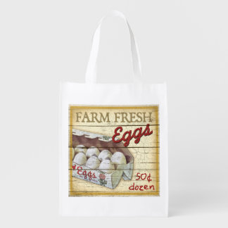 Vintage Farm Stand sign, Eggs, grocery bag