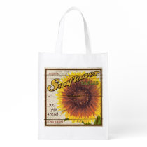 Vintage Farm Stand Sign, Sunflower, grocery bag