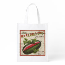Vintage Farm Stand sign, Watermelon, grocery bag
