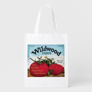 Vintage Farm Stand sign, Wildwood, grocery bag