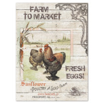 VINTAGE FARM TO MARKET FRESH EGGS SIGN TISSUE PAPER