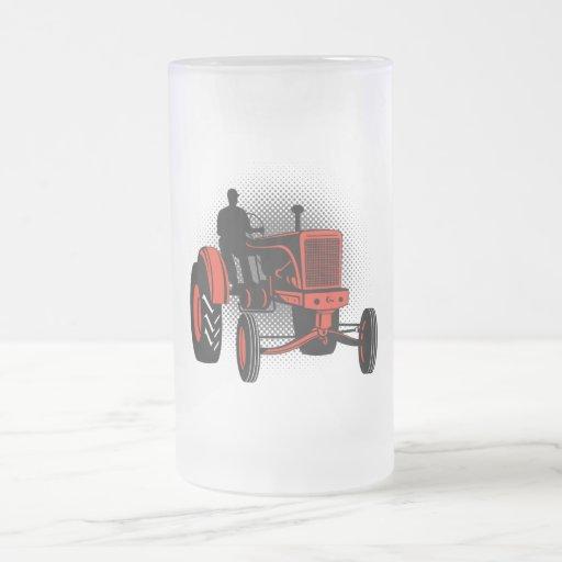 Vintage Farm Tractor 16 Oz Frosted Glass Beer Mug