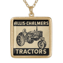 Vintage Farm Tractor Gold Plated Necklace