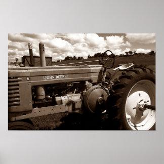 Vintage Farm Tractor Mechanics CloseUp Sepia print