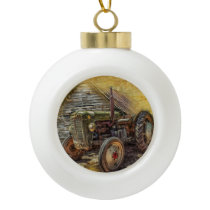 Vintage Farm Tractor Old Barn Shed Ceramic Ball Christmas Ornament