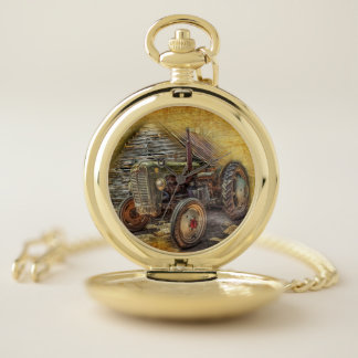 Vintage Farm Tractor Old Barn Shed Pocket Watch