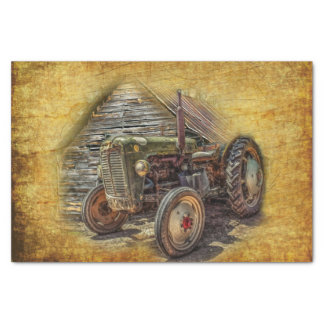 Vintage Farm Tractor Old Barn Shed Tissue Paper
