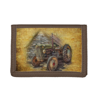 Vintage Farm Tractor Old Barn Shed Trifold Wallet