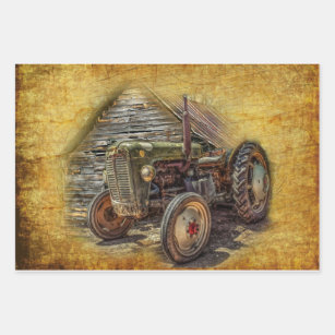 Antique Tractor Pattern Gift Wrap  Set of 3 Sheets