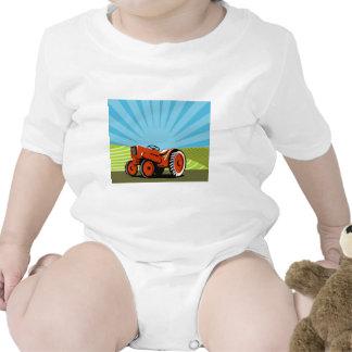 vintage farm tractor plowing retro style baby bodysuit