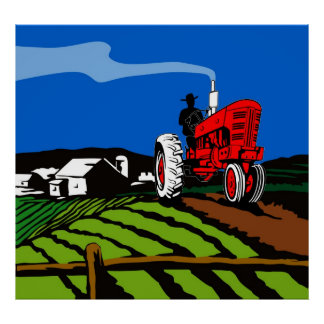 vintage farm tractor poster