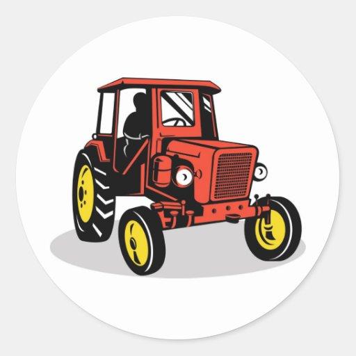 vintage farm tractor retro style classic round sticker