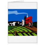 vintage farm tractor retro style greeting cards