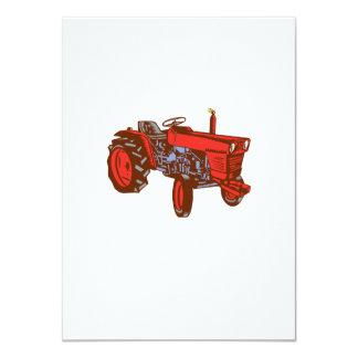 Vintage Farm Tractor Side Woodcut Card