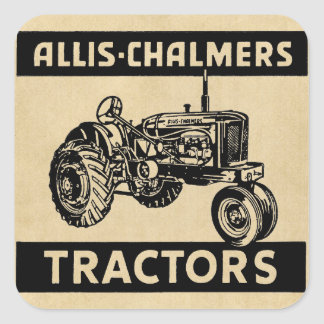 Vintage Farm Tractor Square Sticker
