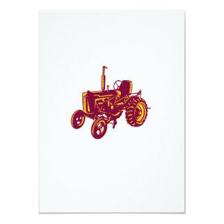 Vintage Farm Tractor Woodcut Card