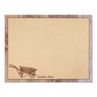 Vintage Farm Wood Personalized Flat Note Cards