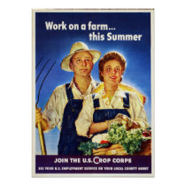 Vintage Farm Work US Crop Corps WW2