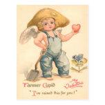 Vintage Farmer Cupid Valentine Postcard