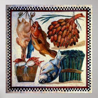 Vintage Farmer Market Fish Mosaic Kitchen Poster