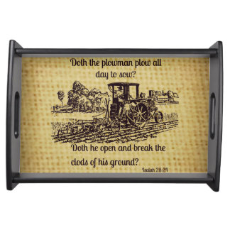 Vintage Farmer Serving Tray Bible Verse