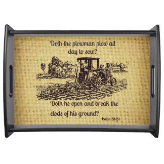 Vintage Farmer Serving Tray Bible Verse
