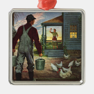 Vintage Farmer Working on the Farm Christmas Tree Ornament