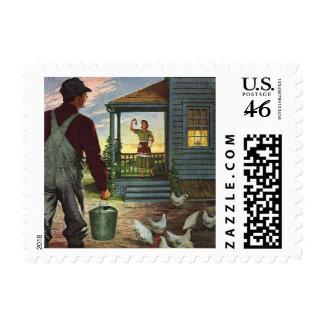 Vintage Farmer Working on the Farm Postage