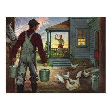 Vintage Farmer Working on the Farm Postcards