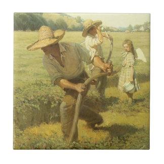 Vintage Farmers, Back to the Farm by NC Wyeth Ceramic Tile