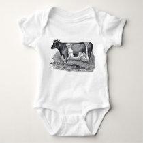 Vintage Farmhouse Cow Baby Bodysuit