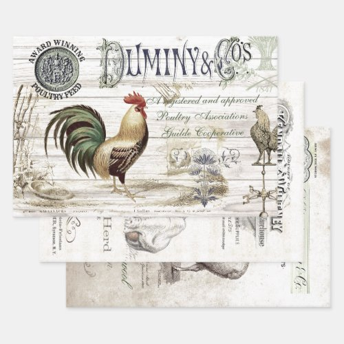 VINTAGE FARMHOUSE HEAVY WEIGHT DECOUPAGE PRINTS WRAPPING PAPER SHEETS