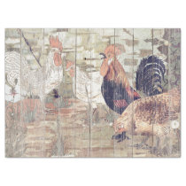 VINTAGE FARMHOUSE HENS AND ROOS ON OLD WOOD TISSUE PAPER