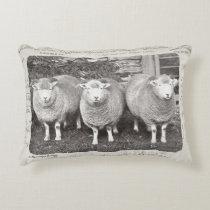 Vintage farmhouse sheep pillow in creams & greys.