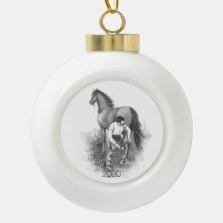 Vintage Farrier Horse Shoeing Black White Art Ceramic Ball Christmas Ornament