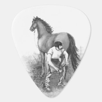 Vintage Farrier Horse Shoeing Black White Art Guitar Pick by countrymousestudio at Zazzle